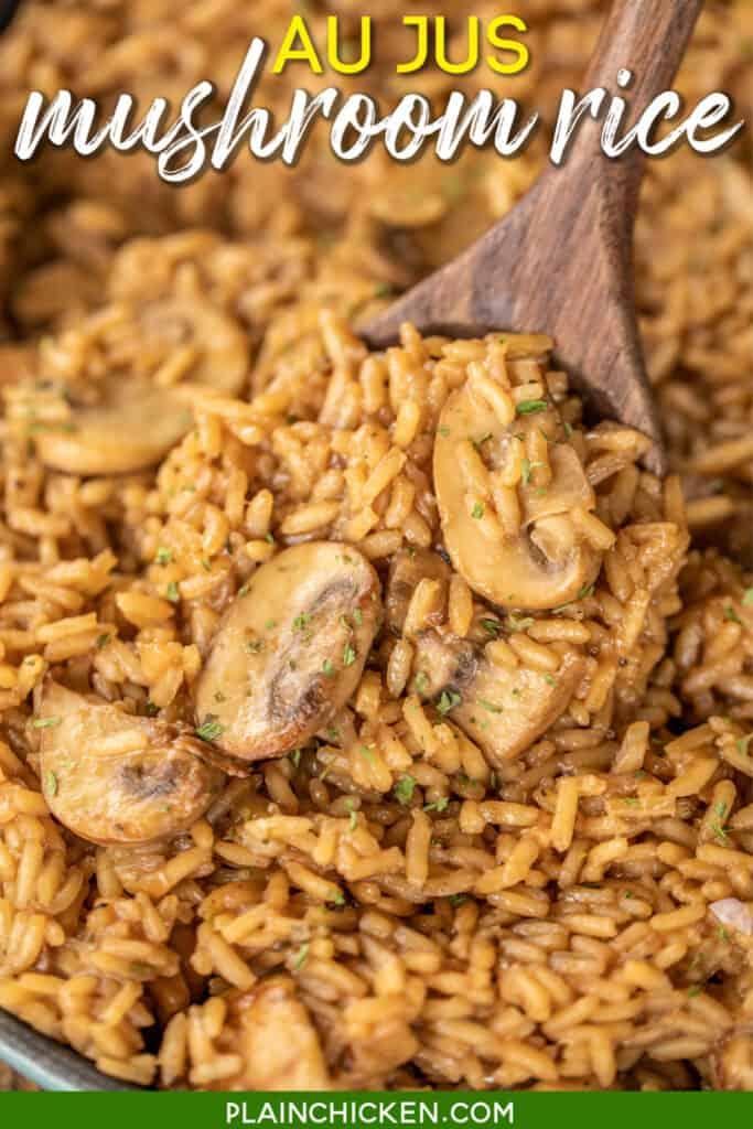 skillet of mushroom rice