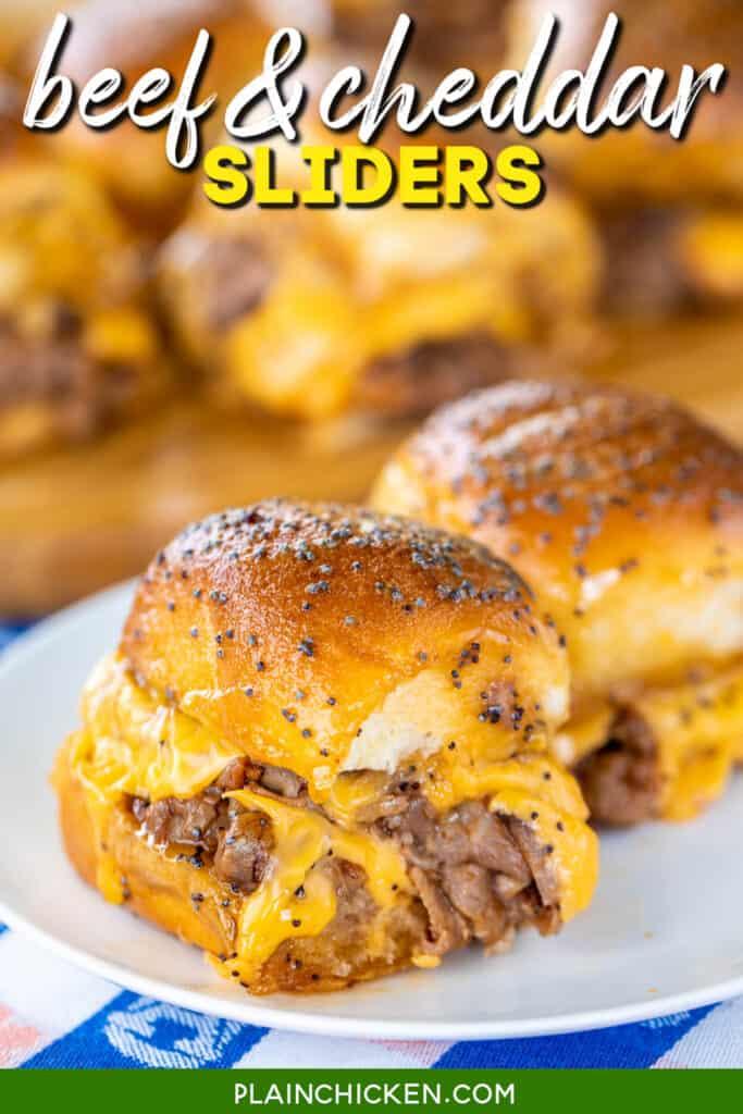 platter of roast beef & cheddar sliders