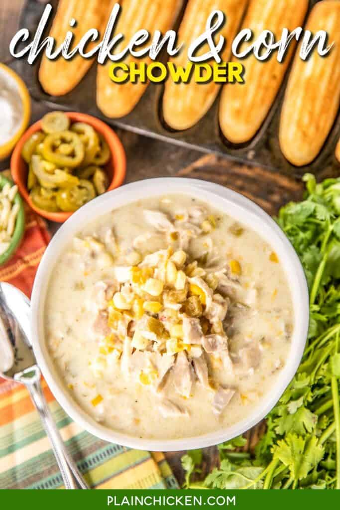 bowl of chicken and corn chowder