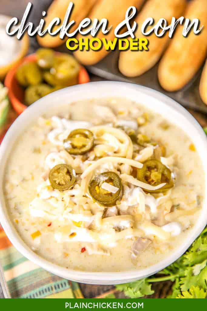 bowl of chicken soup topped with jalapenos