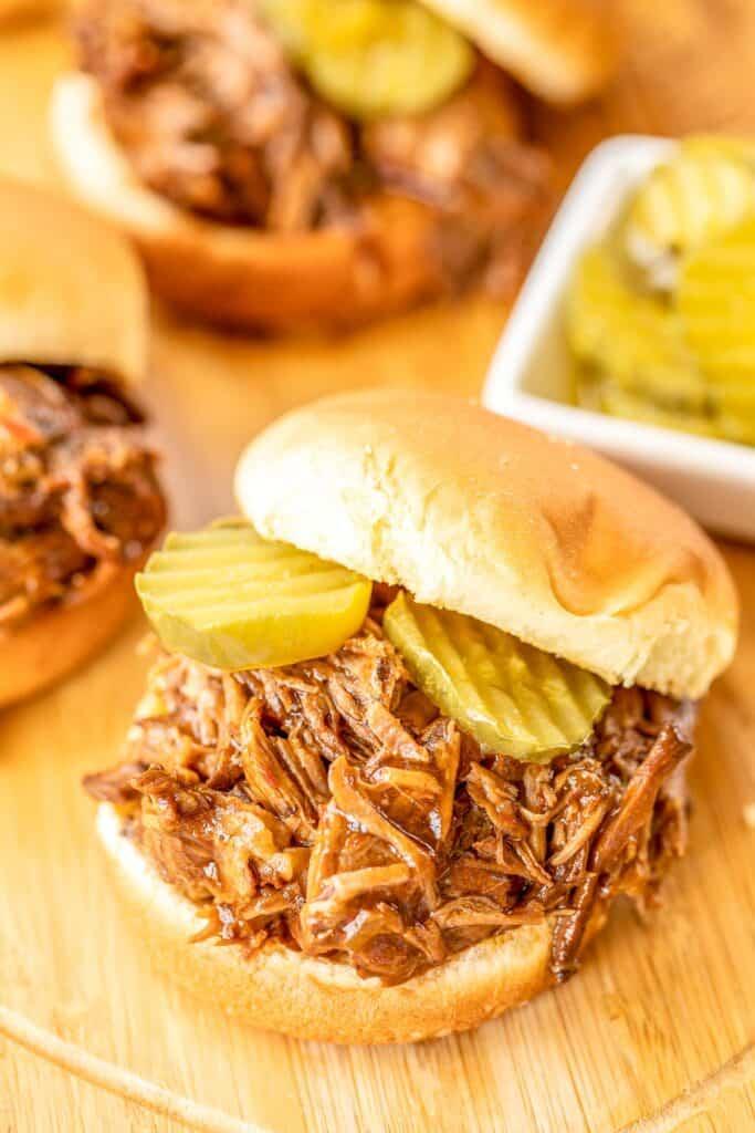 pot roast on slider bun with pickles