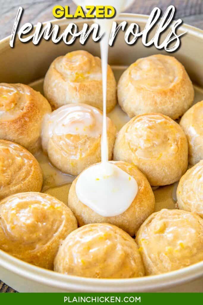 pouring glaze over lemon rolls