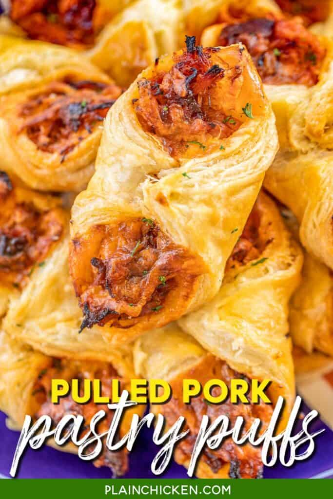plate of bbq pulled pork puff pastry bites