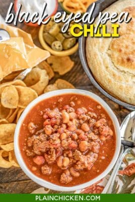 bowl of black eyed pea chili with cornbread