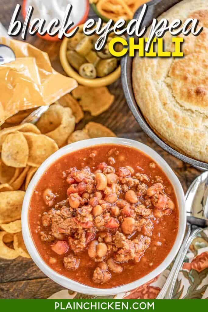 bowl of black eyed pea chili with cornbread