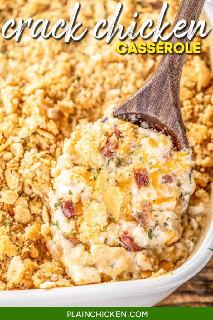 spooning crack chicken casserole from baking dish