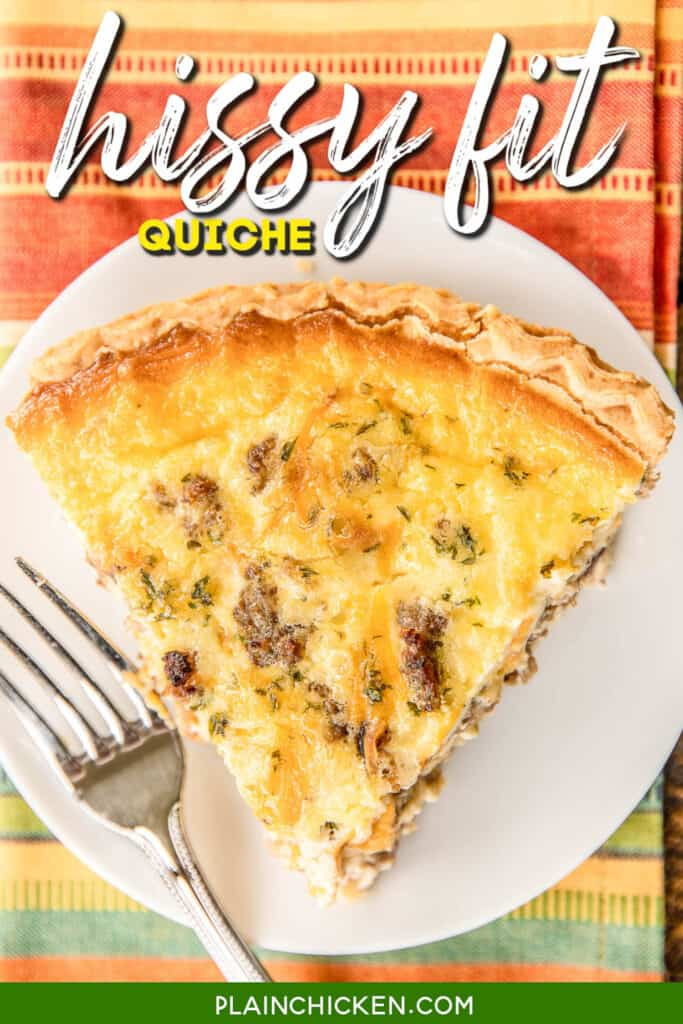 slice of hissy fit quiche on a plate