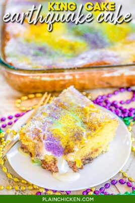 slice of king cake on a plate