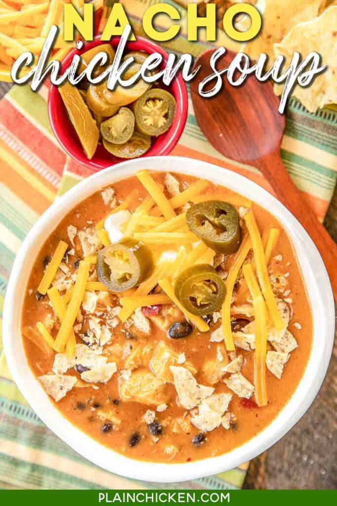 bowl of nacho chicken soup