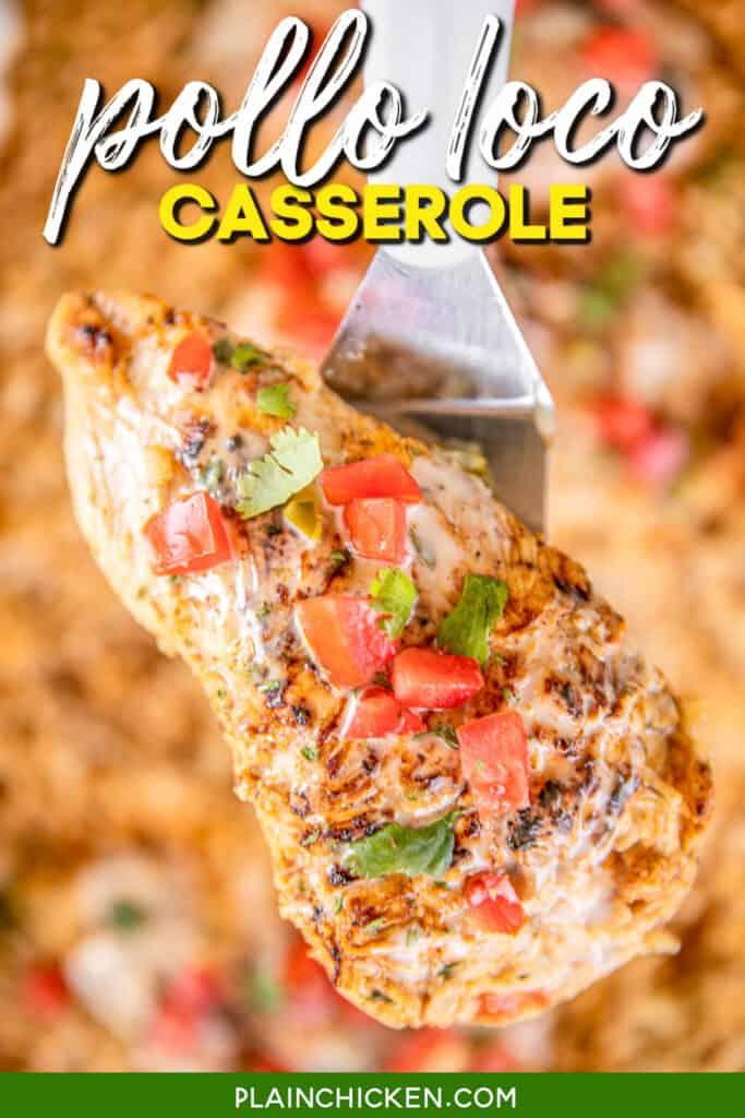 pollo loco chicken on a spatula