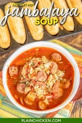 bowl of chicken & sausage jambalaya soup