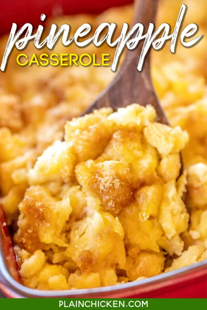 scooping pineapple casserole from baking dish