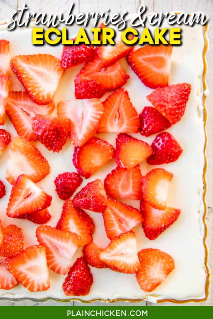cake topped with sliced strawberries