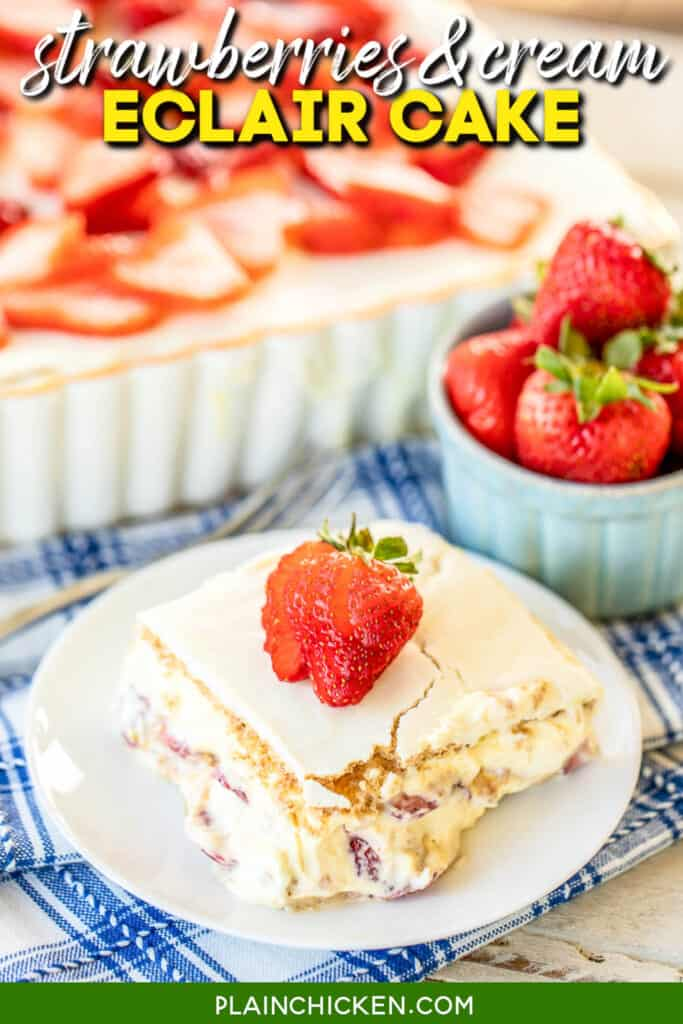 eclair cake topped with strawberries