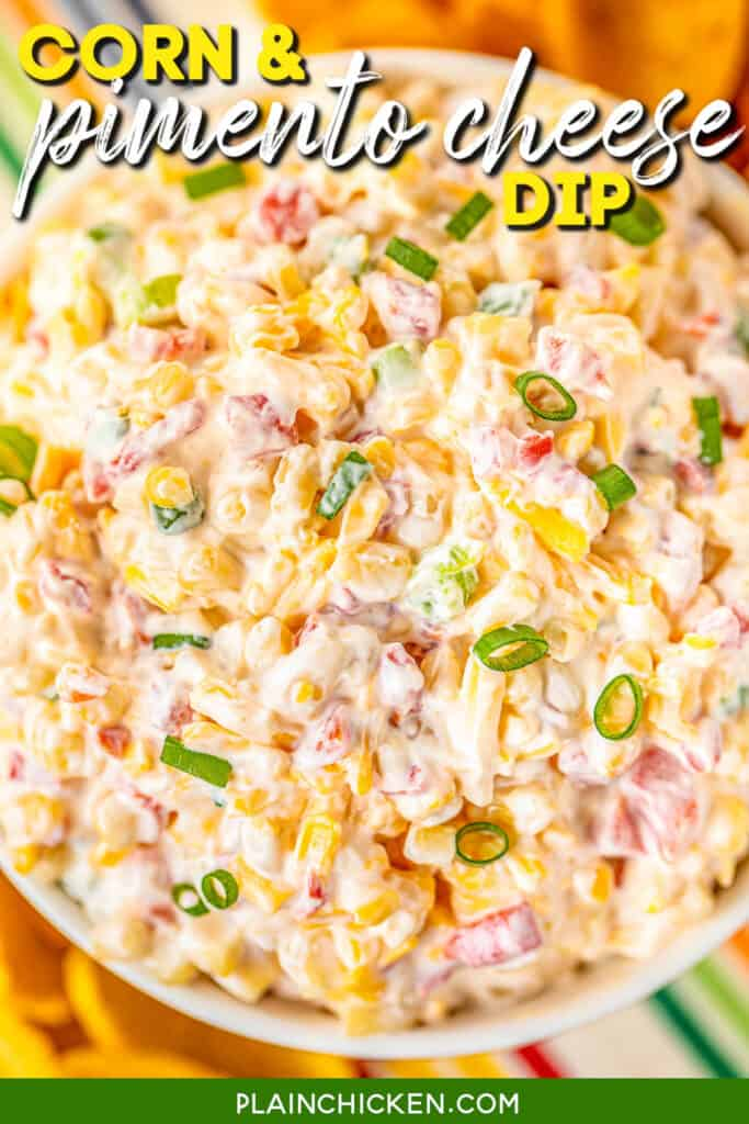 bowl of corn and pimento cheese dip