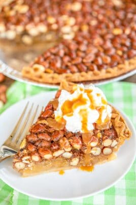 slice of pie topped with ice cream & caramel