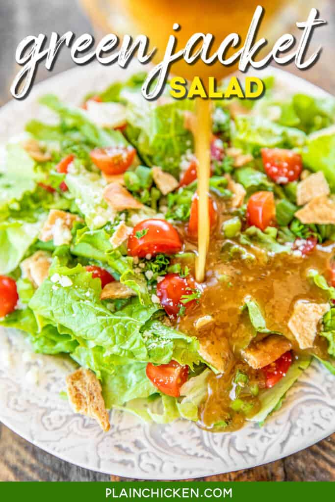pouring dressing on top of salad