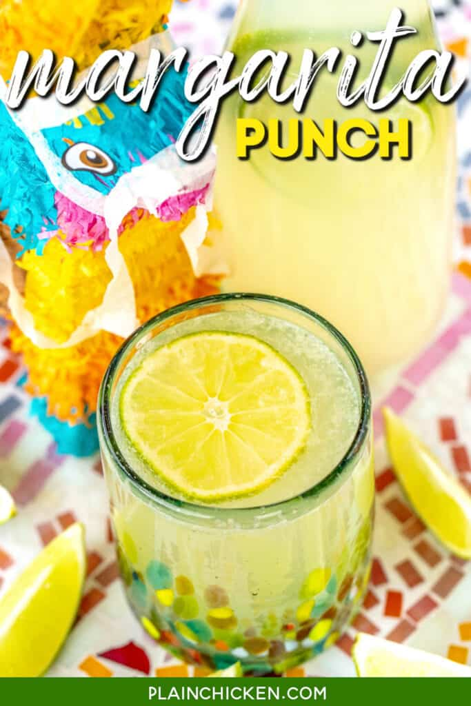 cup of margarita punch with a lime