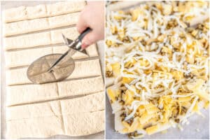 2 photos of making breadsticks with pizza dough