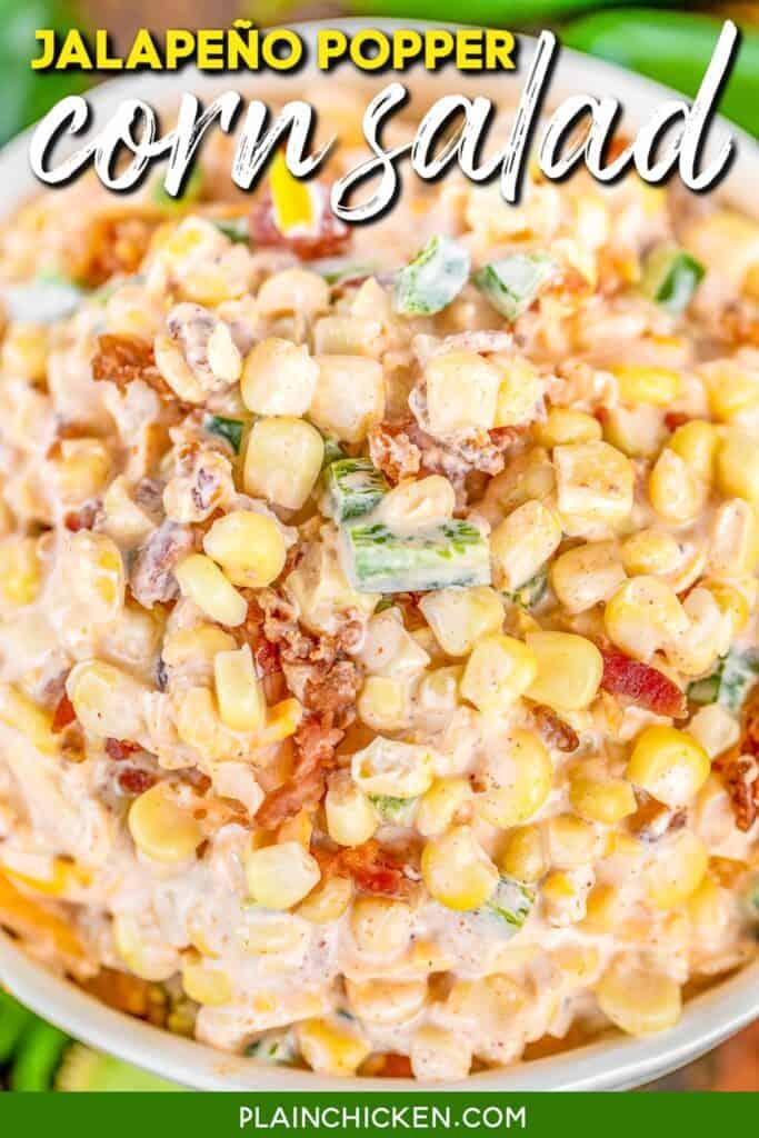 bowl of jalapeno popper corn salad