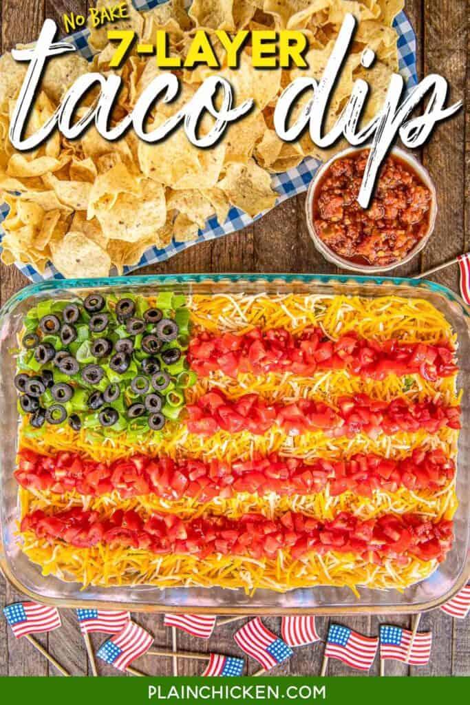 layered taco dish in flag shape in a baking dish