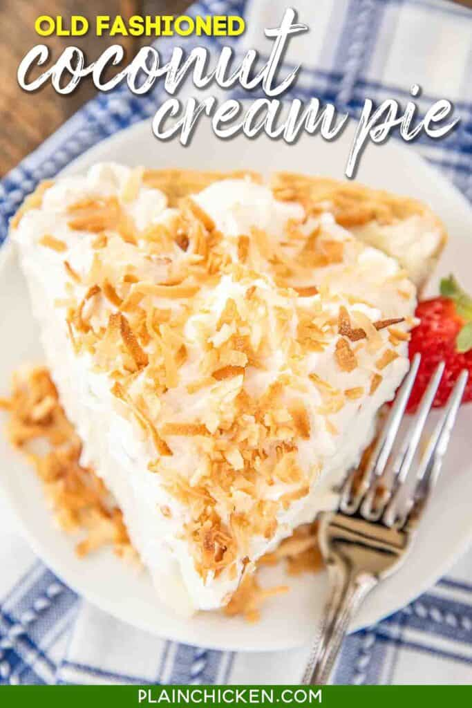 slice of coconut pie on a plate