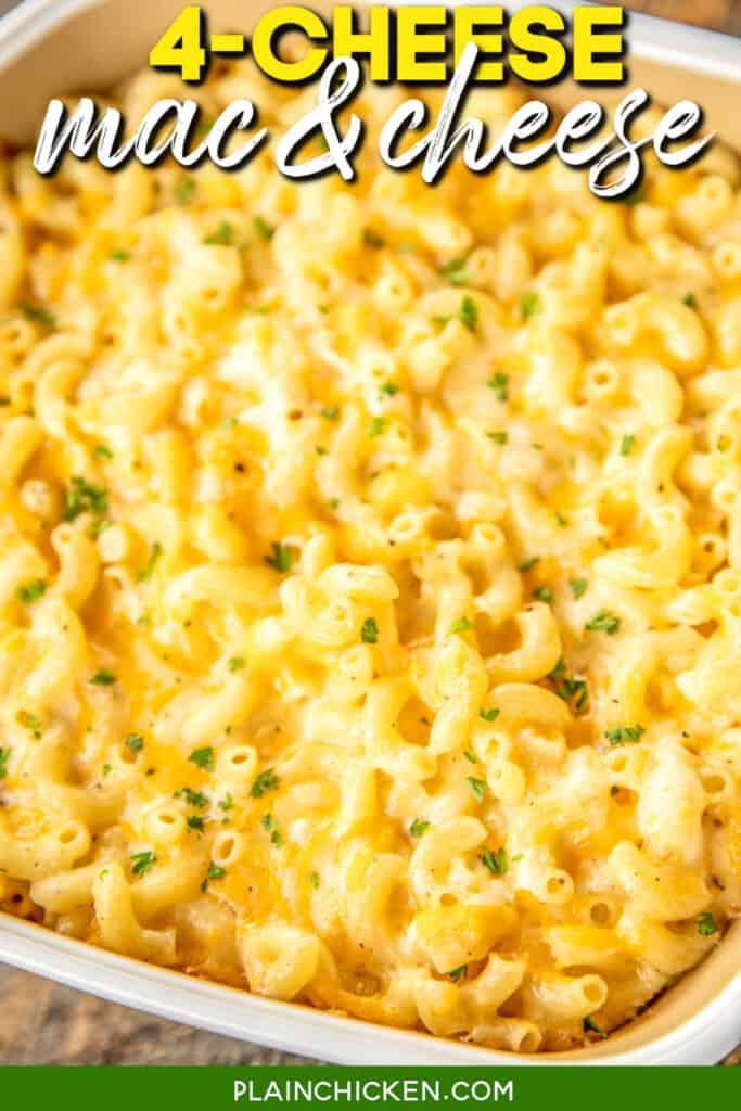 baking dish of mac & cheese