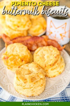 plate of pimento cheese biscuits with bacon