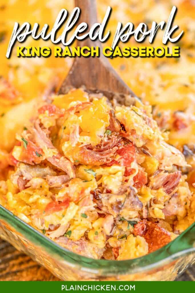 scooping pulled pork king ranch casserole from baking dish