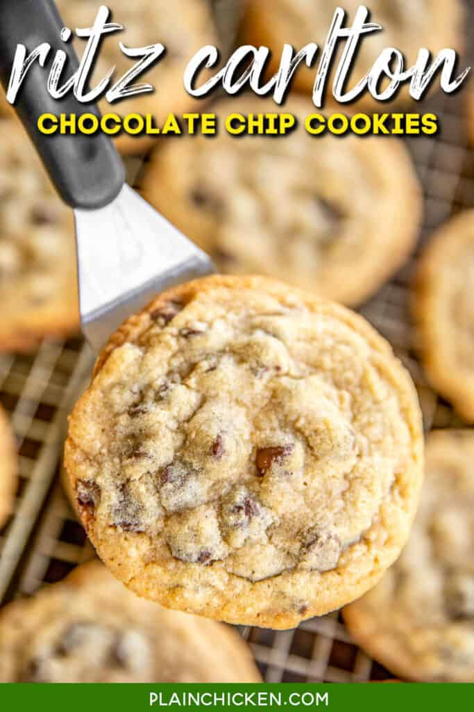 chocolate chip cookie on a spatula