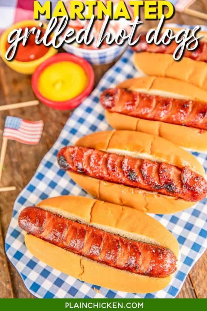 platter of grilled hot dogs