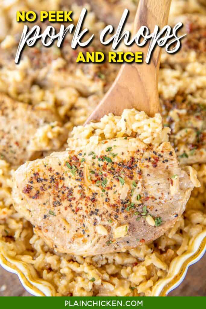scooping pork chops from baking dish of rice