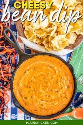 skillet of cheesy bean dip