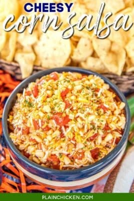 bowl of cheese and corn salsa dip