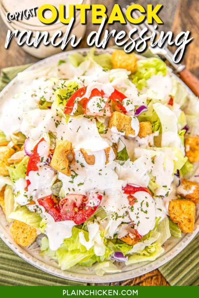 salad topped with dressing
