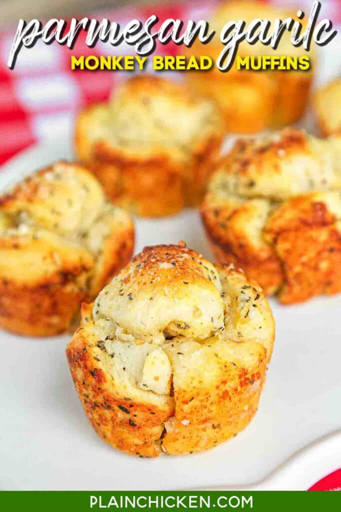 plate of parmesan monkey bread muffins