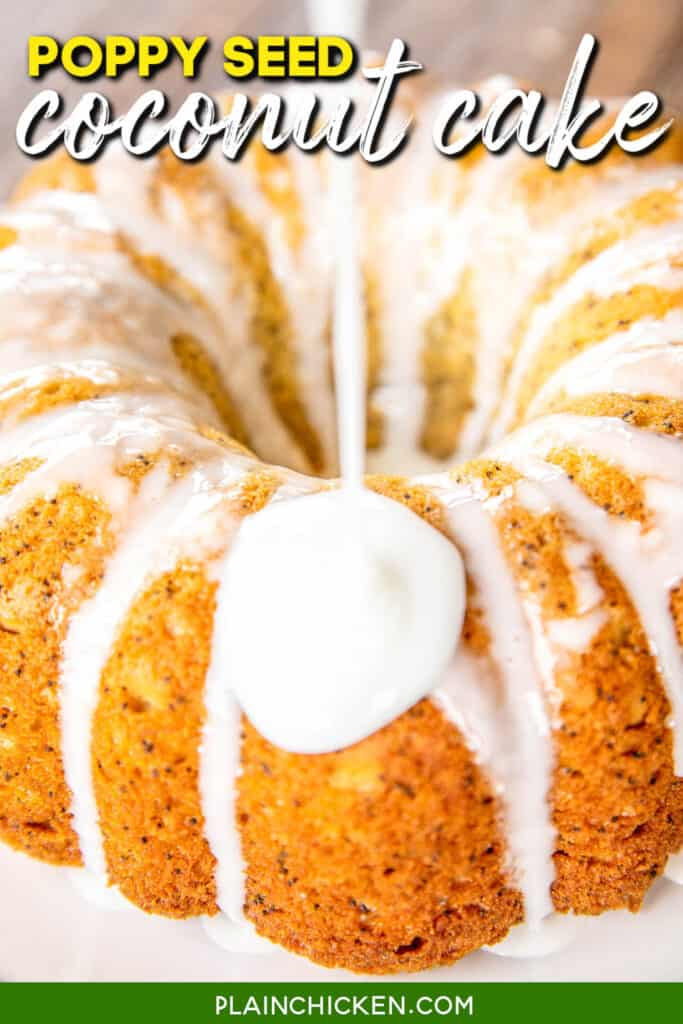 pouring icing over bundt cake