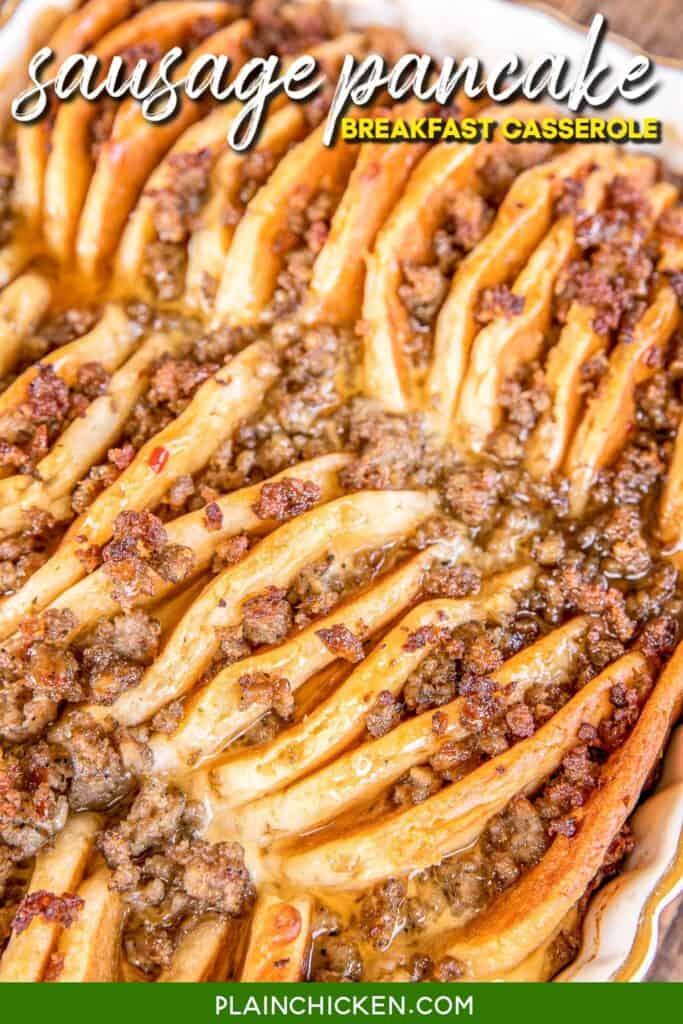 baking dish of sausage pancake breakfast casserole