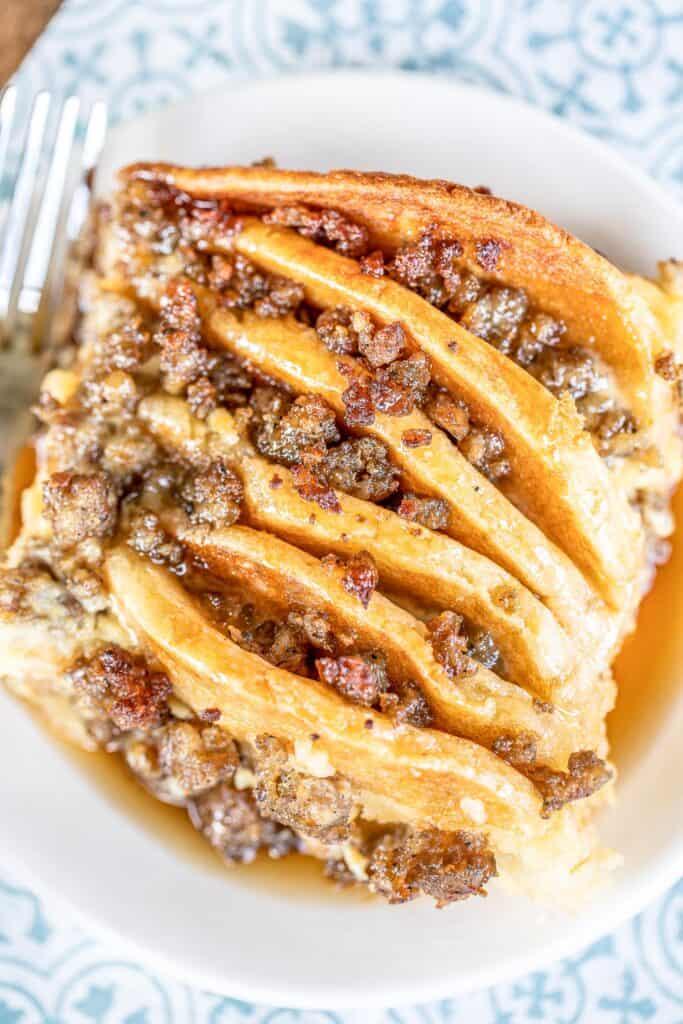 plate of sausage pancake breakfast casserole