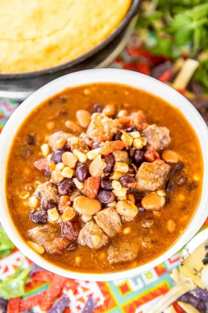 bowl of steak enchilada soup
