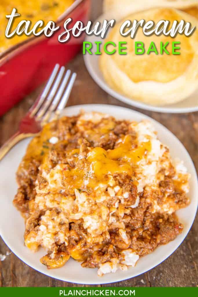 plate of taco rice casserole