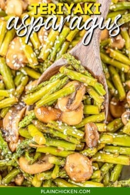scooping asparagus & mushrooms from skillet