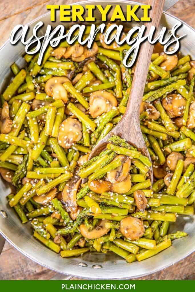 scooping asparagus & mushrooms from skillet