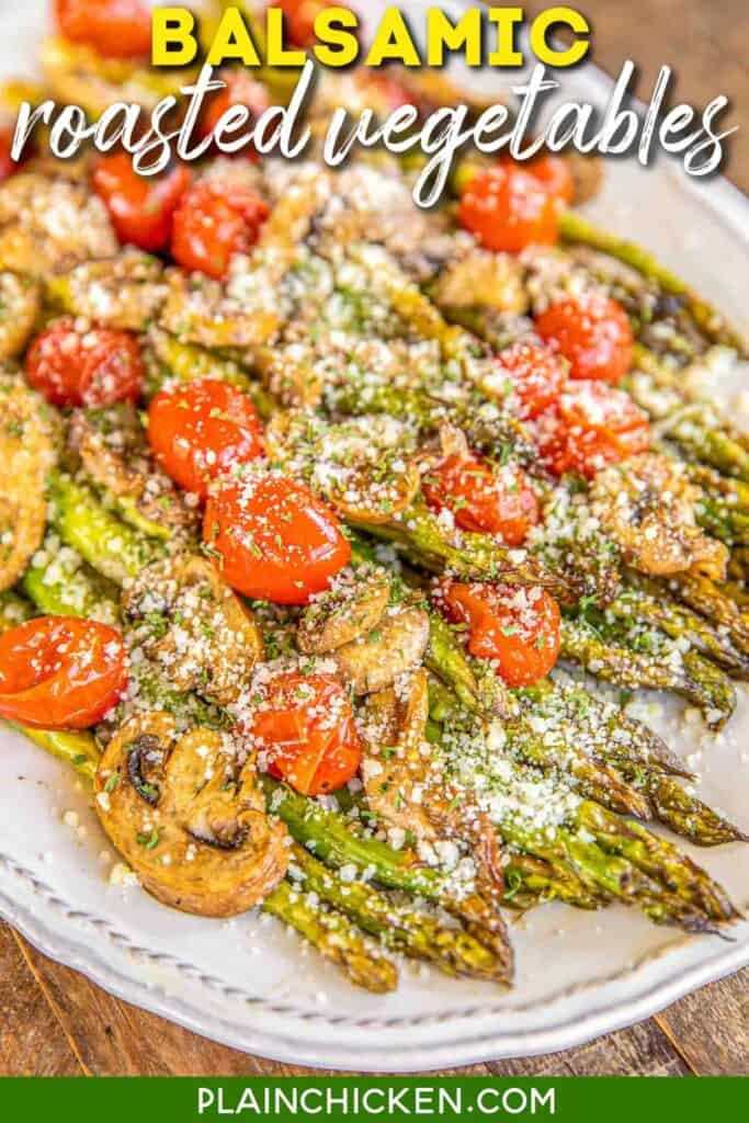 balsamic roasted vegetables on a plate