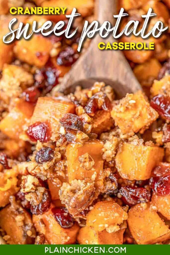 scooping sweet potato casserole from baking dish