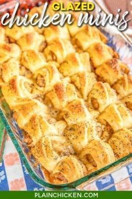 baking dish of glazed chicken crescent rolls