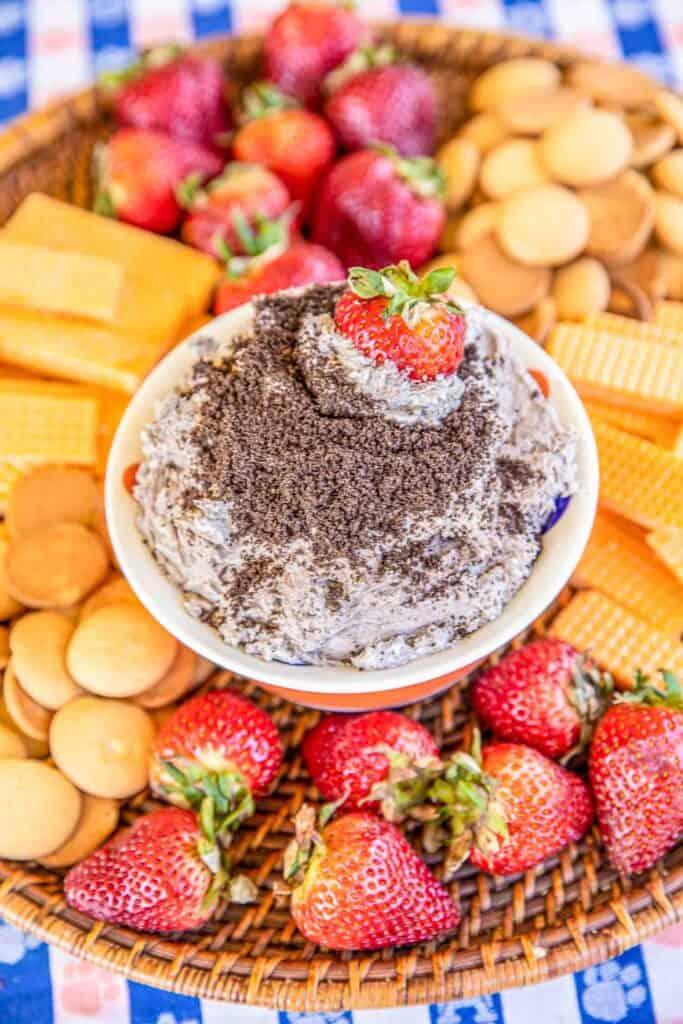 bowl of oreo fruit dip