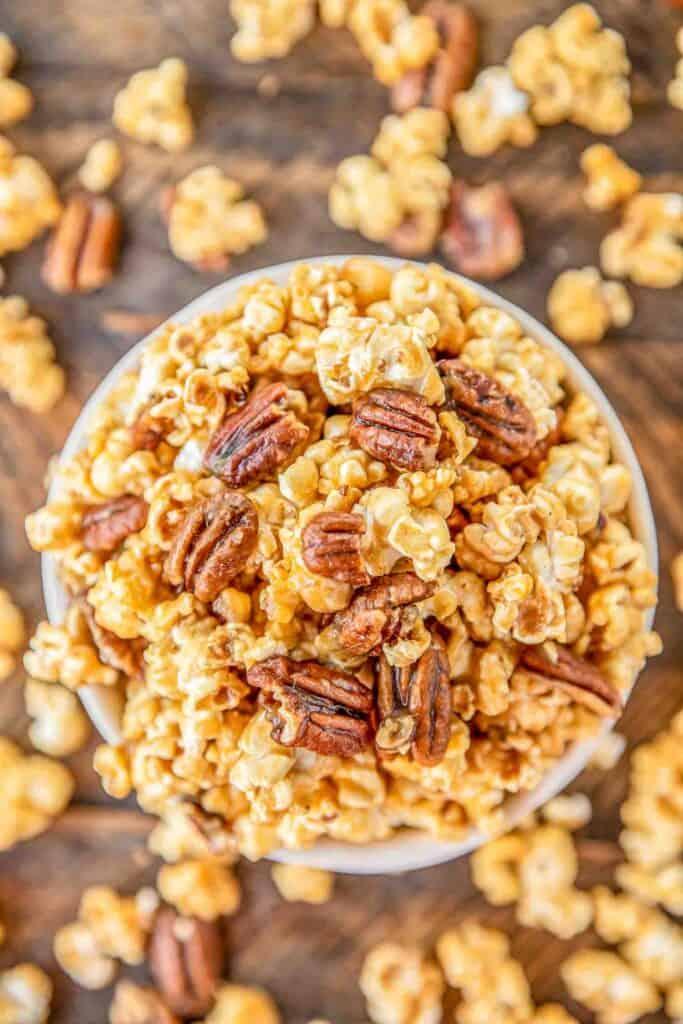 bowl of caramel pecan popcorn