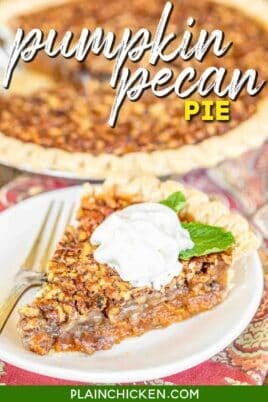 slice of pumpkin pecan pie on a plate