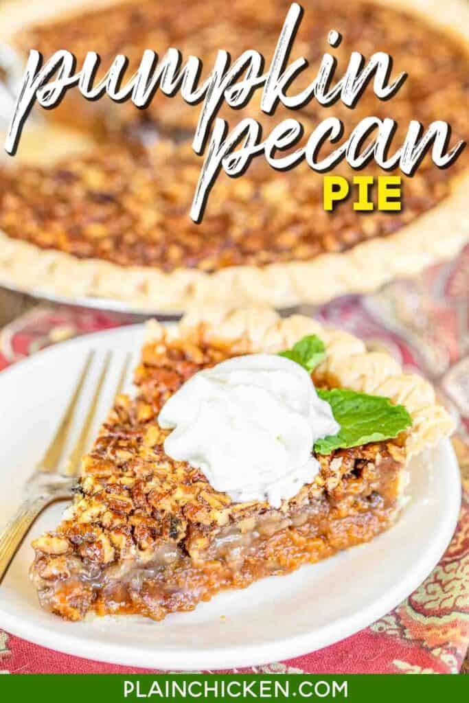 slice of pumpkin pecan pie on a plate